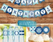 Happy Birthday Nautical Party Pack - Banner, Cupcake Toppers and Water Bottle Labels