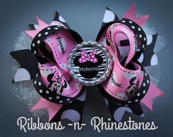 Minnie Mouse Boutique Hair Bow, Disney Minnie Mouse Bow, Pink and Black Minnie Mouse Bow
