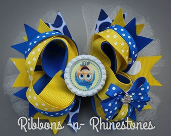 Inside Out JOY Boutique Bow, Upside Down Joy Inside Out Hair Bow, Yellow and Blue JOY Hair Bow, Inside Out Movie