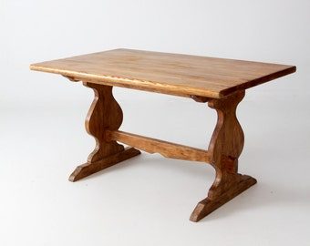 vintage Monterey style wood table with trestle base
