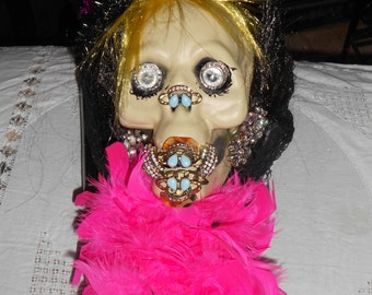 Miss metal mouth OOAK hand make by me skeleton head dressed up