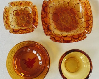 4 Vintage Amber Glass Ashtrays MINT