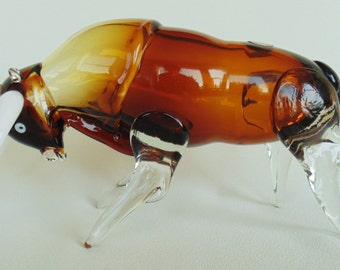"CRISTALES Of Chihuahua Mexico Hand Crafted Blown Glass Bull ""Spring Temples"" With Original Labels PRISTINE"