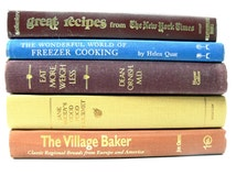 Vintage Cookbooks - Book Bundle Cooking Baking Freezing - Kitchen Decor - Hostess Gift - Instant Library
