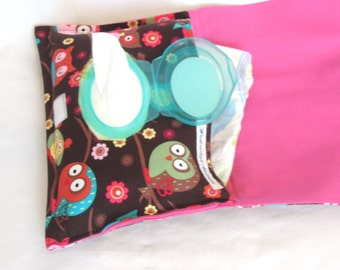 Diaper Bag Clutch for Girl: Owls in Trees with Brown Background