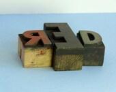 Vintage Wooden Letterpress RED Type for Home Decor