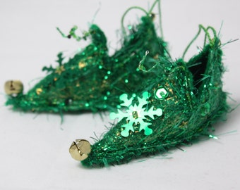 Fairy Shoes christmas ornament Snowflake gold green faerie elf shoe fairy tree decoration holiday decor Christmas Ornament