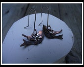 Copper Birds Sterling Silver Recycled Silver Earrings Copper Made in Canada Ready to Ship Dangle Earrings  - E-016