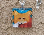 Watercolor Fox necklace