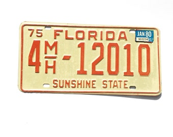 Florida License Tag Plate 1975 Sunshine State 4MH 12010