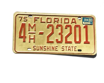 Florida License Tag Plate 1975 Sunshine State 4MH 23201