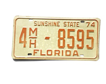 Florida License Tag Plate 1974 Sunshine State 4MH 8595