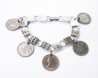 Vintage Book Chain Sixpence Bracelet Coin Bracelet 1960s