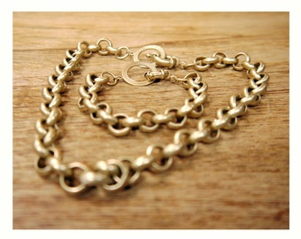 Retro 1980s Chunky Chain Necklace and Bracelet