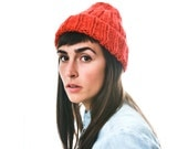 Fire Red Knit Hat, Soft Merino Wool and Alpaca Women's Beanie