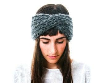 Slate Gray Knit Headband in chunky Merino wool, The Arctic Cross Headband by Westlake