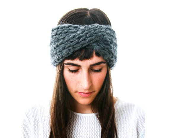 Slate Gray Knit Headband in chunky Merino wool, The Arctic Cross Headband by Westlake