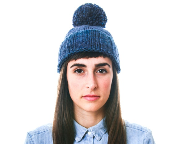 Hand Dyed Indigo Pompom Toque, made in Canada from pure wool
