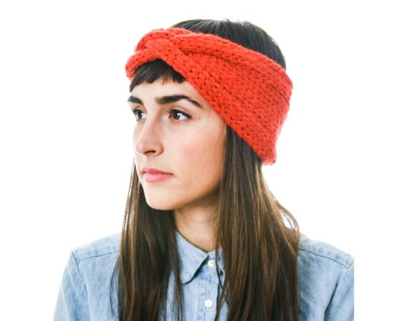 Bright Red Knit Headband, Alpaca Merino Braided Cable Earwarmer, soft and warm accessory in bright red