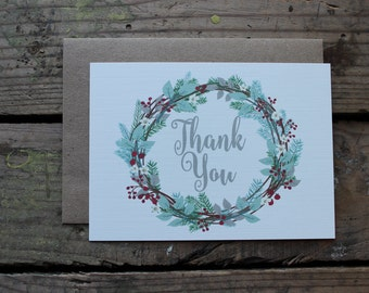 Christmas Wreath Thank You Cards with Envelopes / Holiday / Christmas Card / Set of 10 / Rustic / Country