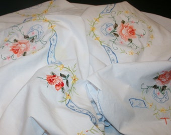 Vintage Large White Machine Embroidered Tablecloth Banquet Floral Roses