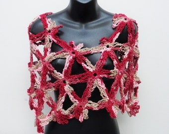 Asymmetrical Red Tonal Capelet - 4 Tone Crochet Capelet - Pinkish Capelet - Multicolor Capelet  Shawl - Women Accessories - by lanesamarie