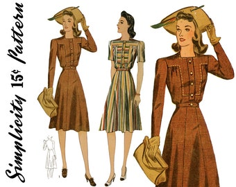 Vintage 1940s Dress Pattern Bust 38 Simplicity 3996 Gored Flared Skirt Yoked Shirtwaist Dress 1940s Day Dress Womens Vintage Sewing Patterns