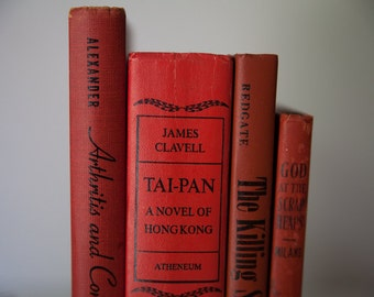 RED Vintage Books, Book Decor, Vintage Library, Interior Design, instant library, stack of books