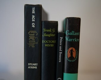 Black Green * Vintage Book Bundle, Book, Decor, Instant Library, Decorations, Shabby Chic, stage prop, centerpiece, wedding
