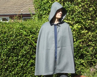 Adult green patterned cape cloak with hood and ribbon tie