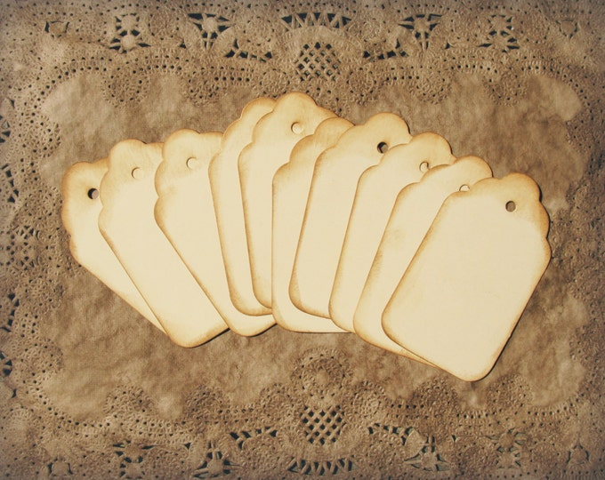 Hand Aged Gift Tags, Scalloped Top, Ivory Wine Charms, Wedding Favor Tags, Escort Cards, Wish Tree Cards, Bridal Shower Tags, 10 Tags