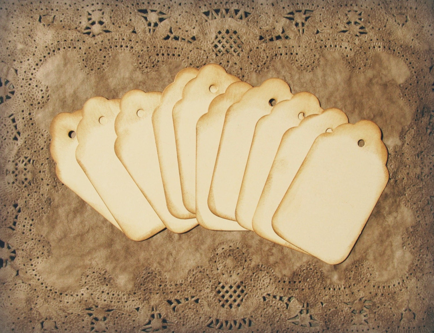Wedding Favor Charms Tags : Aged Gift Tags, Scalloped Top, Ivory Wine Charms, Wedding Favor Tags ...