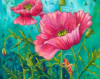Poppies & Grasshopper, Greeting Card - pink poppies, grasshopper, poppy art, poppy painting, pink, green, insect art, flower painting