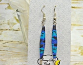 Blue and Black Storybook Paper Bead Earrings