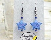 Blue and Purple Paper Bead Lucky Star Earrings Beaded