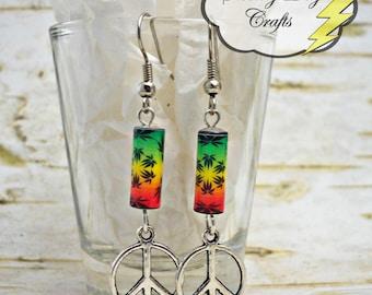 Peace Earrings, Pot Leaf Earrings, Paper Bead Earrings, Marijuana Earrings, Rasta Earrings, Pot Smokers Gift, Stoner Gift, Stoner Accessory