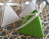 Ready assembled Pyramid Embossed Snowflake favor Boxes available in various colours