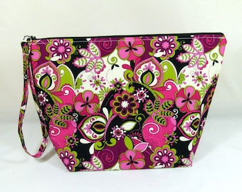 Knitting Project Bag - Large Zipper Wedge Bag in Purple Paisley Fabric with Purple and Silver Polka Dot Cotton Lining