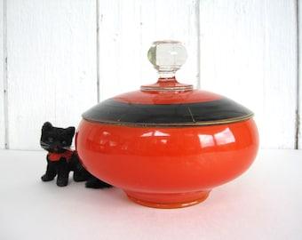Vintage Glass Bowl with Lid Lidded Candy Dish Cased Orange Lattice Design Westmoreland Spider Web Black Orange Art Deco