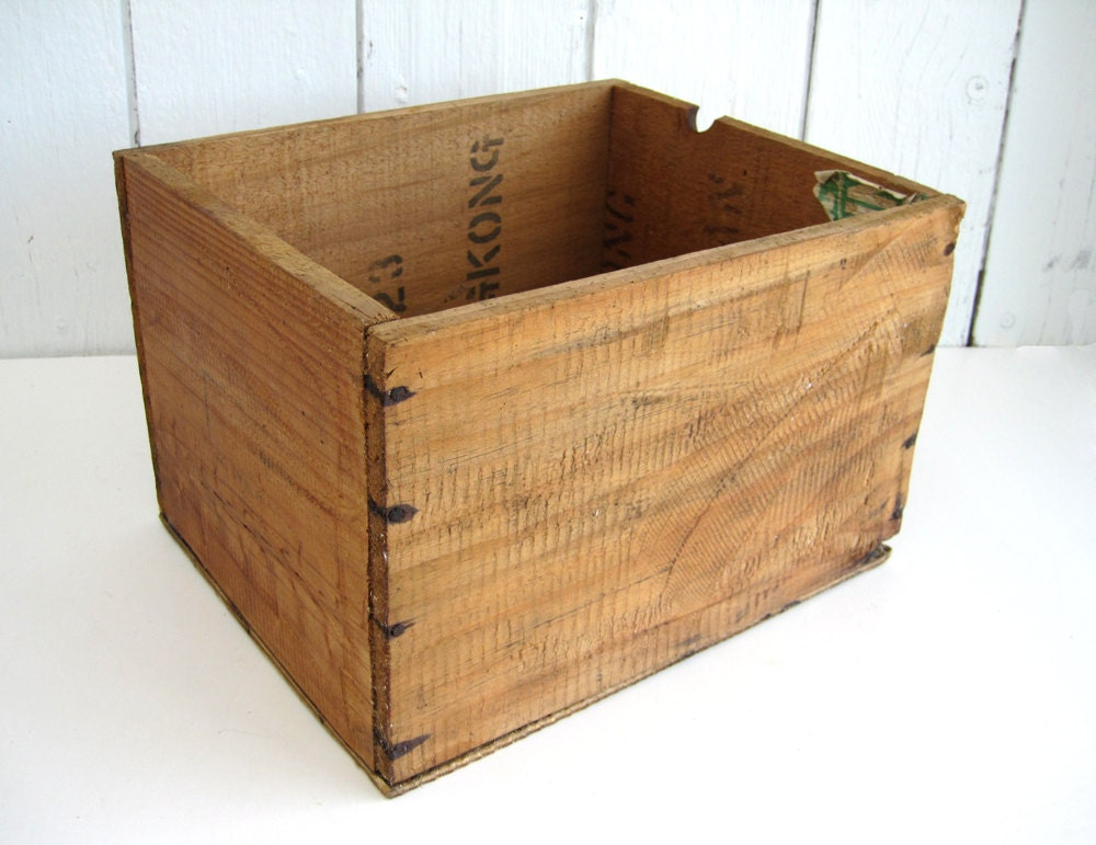 Vintage wood crate wooden box apo shipping surgical hospital for Old wooden crates