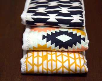 Burp Cloth Set, Blue Aztec, Golden Yellow, and Multi-Color Tribal, April Rhodes Collection