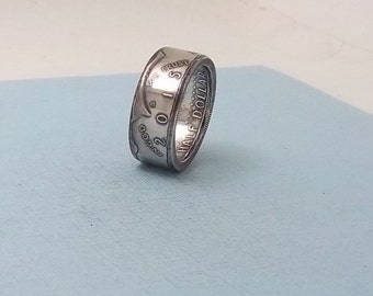 Silver coin ring Kennedy half dollar 90% fine silver jewelry year 2015 size 10