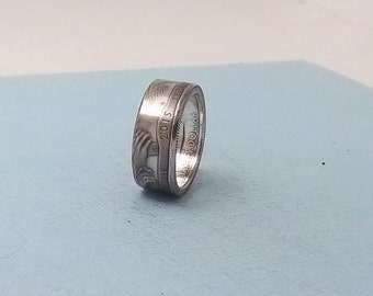 Silver coin ring 90% Silver proof coin New York State Park Quarter year 2015 size 7  fine silver ring jewelry