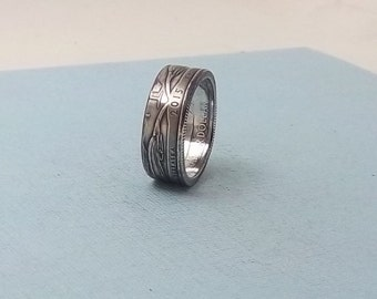 Silver coin ring  90% Silver proof coin Nebraska Monument Quarter year 2015 size 8  fine silver ring jewelry