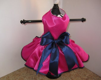 Dog Dress  XS Hot pink and Navy By Nina's Couture Closet