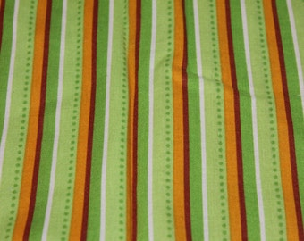 Green, Tan, and White Striped Crib/Toddler Bed Fitted Sheet