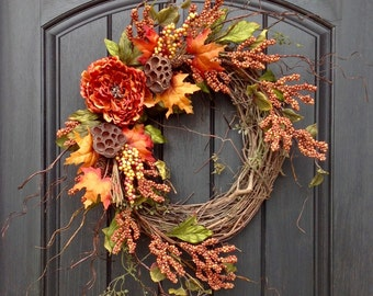 Fall Wreath Thanksgiving Wreath Halloween Orange Berry Branches Twig Grapevine Door Wreath Decor Floral Door Decoration Indoor Outdoor Decor