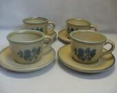 Pfaltzgraff  Folk Art Pattern Coffee Cups with Saucers Qty 4 Discontinue 1980