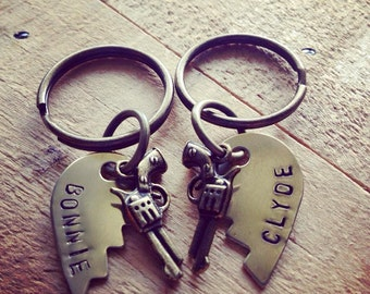 Brass Broken Heart Key Rings With Bonnie and Clyde with Simple Block Font