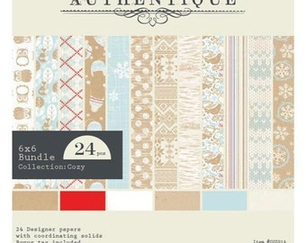 6x6 Winter Themed Paper Pad from Authentique - Cozy